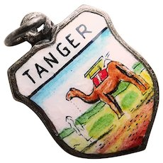 Silvertone TANGIER Tanger Enamel Vintage Charm - Souvenir of Morocco Africa - Travel Shield