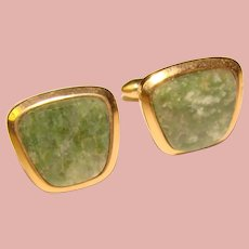 Awesome Vintage GREEN STONE Cufflinks – 14K Gold Filled
