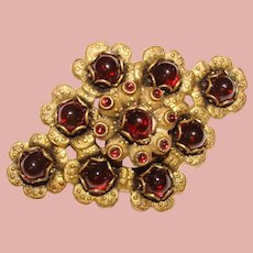 Gorgeous Vintage Cranberry Red Glass Stones Brooch