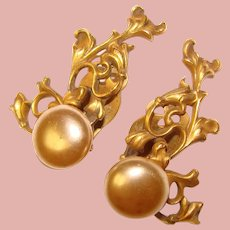 Fabulous Ornate Gold & Faux Pearl Vintage Clip Earrings