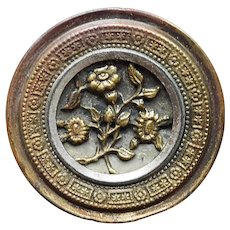 Antique FLOWERS Large Estate Picture Story Button