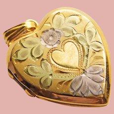 Gorgeous 12K GF Heart Vintage Locket - Engraved Flower Design