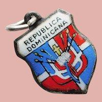 Sterling & Enamel DOMINICAN REPUBLIC Charm - Souvenir of the Caribbean - Republica Dominicana Travel Shield