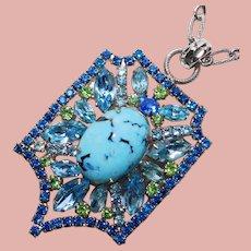 Fabulous TURQUOISE GLASS & Aqua Blue Green Rhinestone Vintage Pendant Necklace