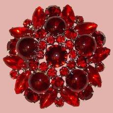 Fabulous D&E JULIANA Red Rhinestone Vintage Brooch