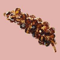 Fabulous D&E JULIANA Topaz Brown Aurora Dangles Vintage Rhinestone Brooch