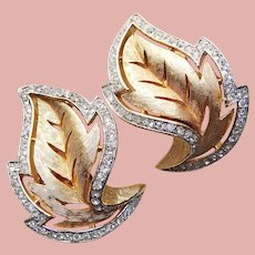 Gorgeous TRIFARI Rhinestone Vintage Leaf Clip Earrings
