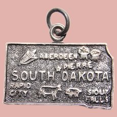 Vintage Sterling SOUTH DAKOTA Estate Charm - State Souvenir
