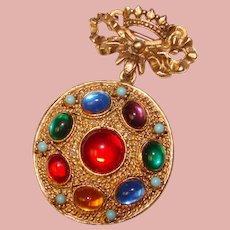 Fabulous COLOR GLASS Cabochons Vintage Crown Design Brooch