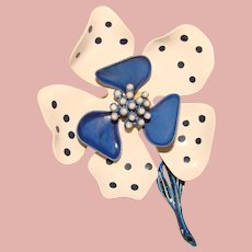 Awesome Signed HEDY 1960s Blue Polka Dot Flower Power Vintage Brooch