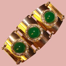 Fabulous GREEN GLASS & Rhinestone Vintage Bracelet