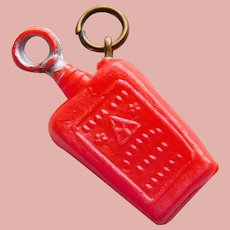 Vintage Celluloid BOTTLE FLASK Estate Charm