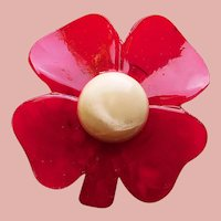 Lucky Red FOUR LEAF CLOVER Shamrock Button - Celluloid or Early Plastic