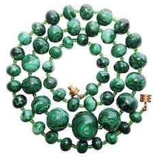 Fabulous MALACHITE Hand Made Bead Necklace - 168 Grams