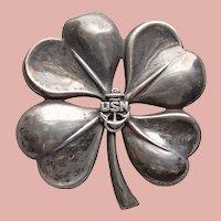 WWII Sterling NAVY SWEETHEART Brooch - 4 Four Leaf Clover Shamrock - 1940s