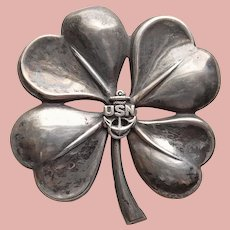 WWII Sterling NAVY SWEETHEART Brooch - 4 Four Leaf Clover Shamrock - 1940s