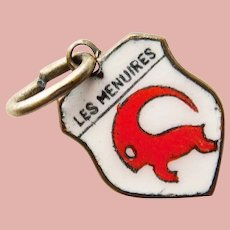 Vintage LES MENUIRES Enamel Charm - French Ski Resort - Souvenir of France - Travel Shield