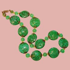 Fabulous Green VENETIAN MURANO GLASS Aventurine Gold Flecked Vintage Necklace