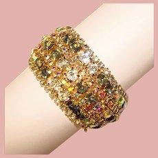 Fabulous HOBE Signed Wide Vintage Rhinestone Bracelet