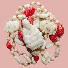 Fabulous ART DECO Czech Glass Buddha & Elephants Neiger Bead Necklace