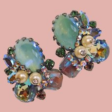Fabulous Hobe SAPHIRET Glass Dragons Breath & Rhinestone Earrings