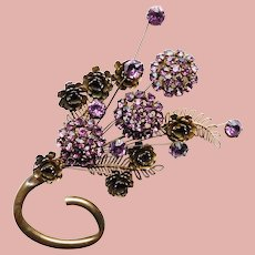 Fabulous TREMBLANT Purple Rhinestone Flower Bouquet Brooch - Trembler - Huge Runway Statement