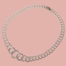 Fabulous JUDITH RIPKA Interlocking Circle Design Clear Stones Necklace