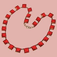 Fabulous Sterling ART DECO Square Red Glass Stones Necklace