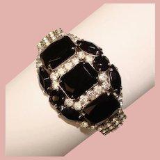 Fabulous BLACK & CLEAR Rhinestone Vintage Clamper Bracelet
