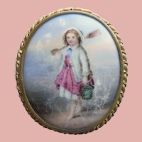 As Found - Fabulous Huge BEACHCOMBER GIRL Hand Painted Porcelain Brooch - Victorian