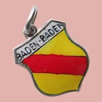 800 Silver & Enamel BADEN BADEN Charm - Souvenir of Germany - Travel Shield