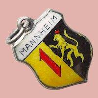 Sterling & Enamel MANNHEIM Charm - Souvenir of Germany - Travel Shield