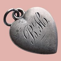 Antique Sterling Puffy Heart Charm - Engraved Initials B H