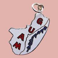 Sterling & Enamel GUAM Vintage Charm - Souvenir of United States Island Territory