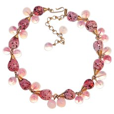 Fabulous VOLUPTE Pink Opalescent Glass Bead Necklace
