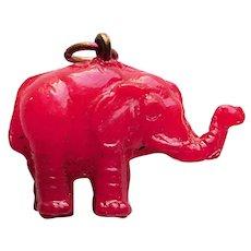 Vintage Celluloid RED ELEPHANT Estate Charm