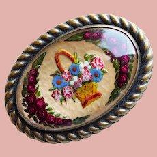 Gorgeous GOOFUS GLASS Flower Basket Antique Brooch