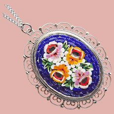 Gorgeous MICRO MOSAIC Vintage Pendant Necklace - Micromosaic