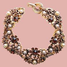 Fabulous LISNER Topaz Brown Rhinestone Vintage Bracelet - Autumn Fall Colors