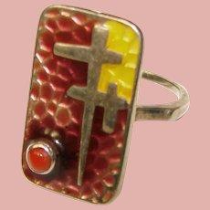 Fabulous STERLING Modernist Design Vintage Enamel Ring