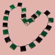 Fabulous ART DECO Square Green & Black Glass Stones Necklace