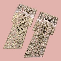Fabulous ART DECO Pair of Rhinestone Dress Clip Brooches