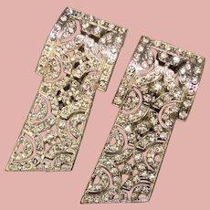 Fabulous ART DECO Pair of Rhinestone Dress Clip Brooches