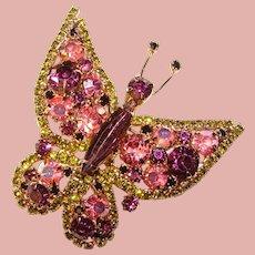 Fabulous D&E JULIANA Purple & Green Butterfly Vintage Rhinestone Brooch