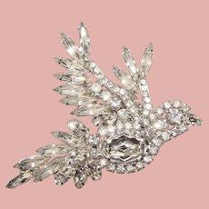Fabulous D&E Juliana Clear Rhinestone PEACE DOVE Brooch - Figural Bird Design