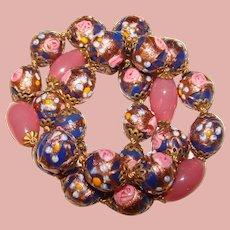 Fabulous Venetian Wedding Cake Blue & Pink Glass Beads Vintage Necklace