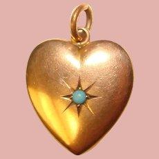 Fabulous Antique HEART Pendant Set with Aqua Color Stone – Large Doll Size