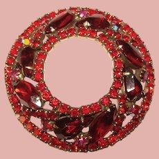 Fabulous WEISS Red Rhinestone Vintage Brooch