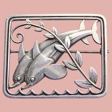 Fabulous GEORG JENSEN Sterling Dolphin Brooch - Denmark Danish Scandinavian