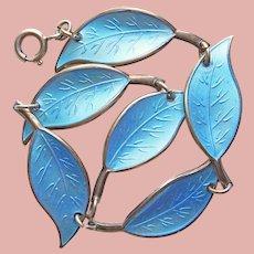 Fabulous DAVID ANDERSEN Sterling Aqua Enamel Leaf Bracelet - Norway Norwegian Scandinavian
